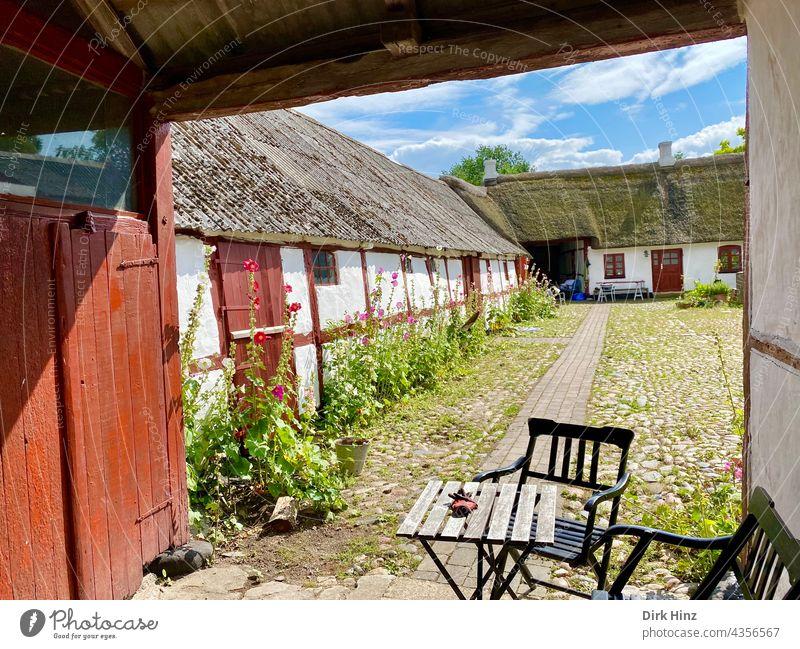Altes Bauernhaus auf der dänischen Insel Endelave Haus Außenaufnahme Bauernhof Menschenleer Gebäude alt Reetdach Reetdachhaus Hof Innenhof Idylle Dänisch