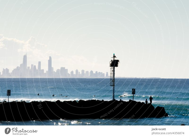 Wellenbrecher vor Surfers Paradise Küste Meer Himmel Horizont Natur Skyline Australien Panorama (Aussicht) Sonnenlicht Silhouette Hintergrund neutral Klima