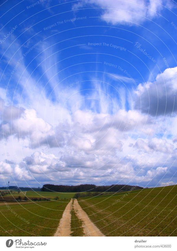 Pfad zum Himmel Wolken blau Wege & Pfade Landschaft Natur Freiheit