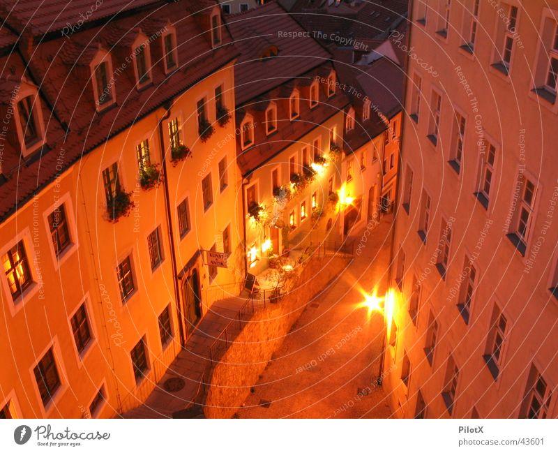 Altstadt von Meißen Haus Nacht Langzeitbelichtung Meissen Sachsen Architektur Licht Burg oder Schloss