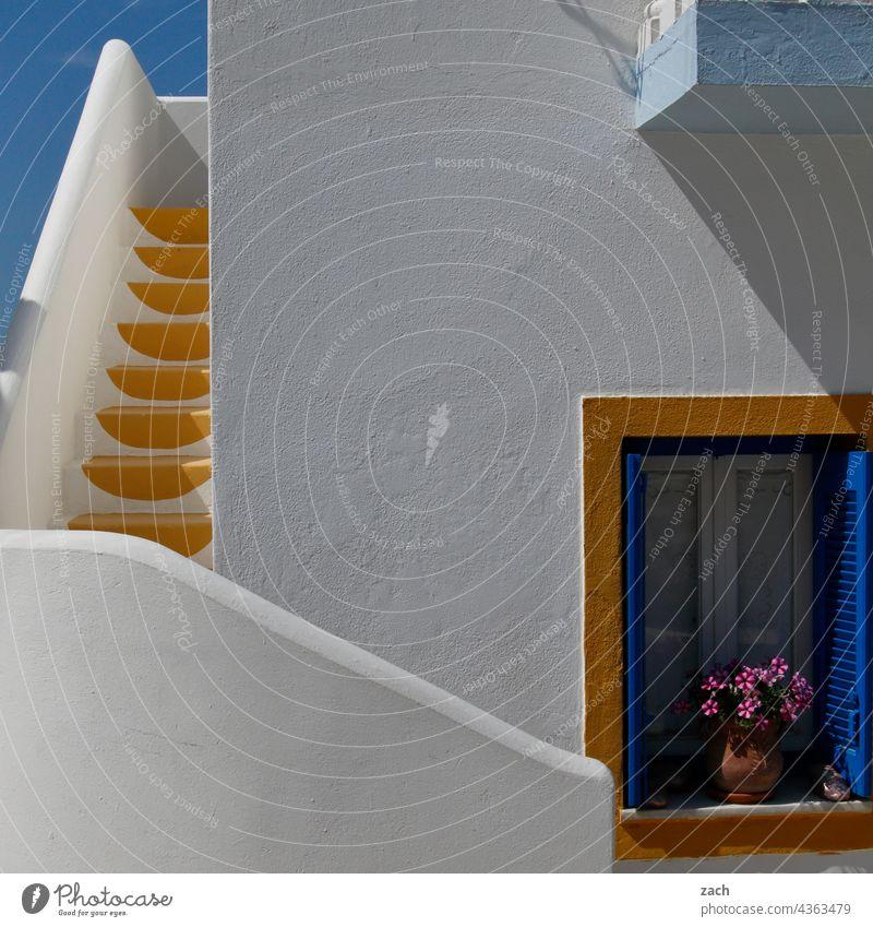 Von Farben und Formen Kykladen Kykladenarchitektur Griechenland Insel Gebäude Haus Treppe stufen Treppenstufen Treppenabsatz treppen steigen aufwärts abwärts
