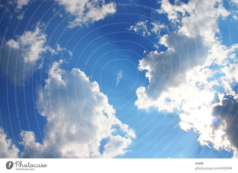 Zuversicht Himmel weiß Sonne blau Wolken Stimmung Beleuchtung Hoffnung