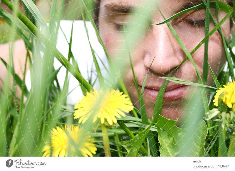 riech mal... Mann Natur Blume grün Gesicht Auge gelb Wiese Gras lachen Haare & Frisuren geschlossen Rasen liegen