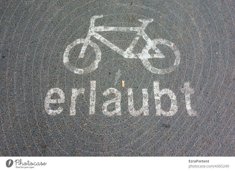 Erlaubnis Fahrrad Fahrradweg Asphalt Straße Schrift fahrbahnmarkierung grau Verkehr Verkehrswege Verkehrswende Zigarettenstummel