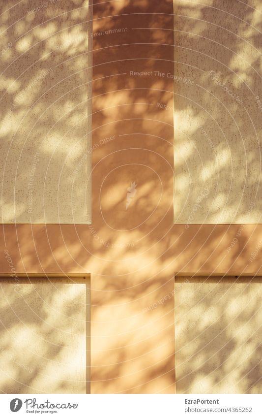Erleuchtung Kreuz Fassade Wand Mauer Linie Streifen Licht leuchten Kirche Schatten Lichterscheinung abstrakt Gebäude Architektur Design Religion & Glaube