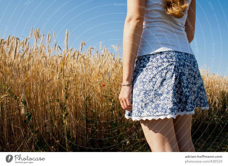 Sommerrock Mensch feminin Junge Frau Jugendliche Erwachsene 1 18-30 Jahre Natur Landschaft Himmel Wolkenloser Himmel Schönes Wetter Feld Blick stehen frei schön