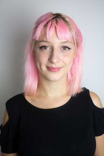 Junge Frau mit rosa Haaren pinke haare Haare & Frisuren jugendlich trendy schön Mensch Jugendliche feminin Hipster 18-30 Jahre Lifestyle Mode Design Porträt