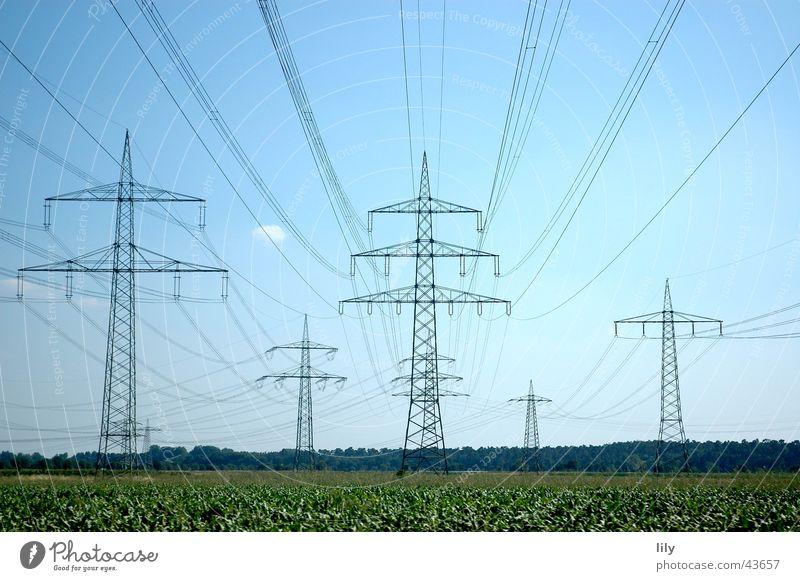 Mastenlandschaft Himmel grün blau Wiese Elektrizität Strommast