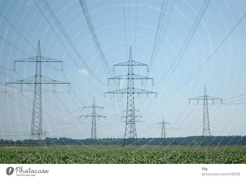Mastenlandschaft #2 Elektrizität Strommast grün Wiese blau Himmel