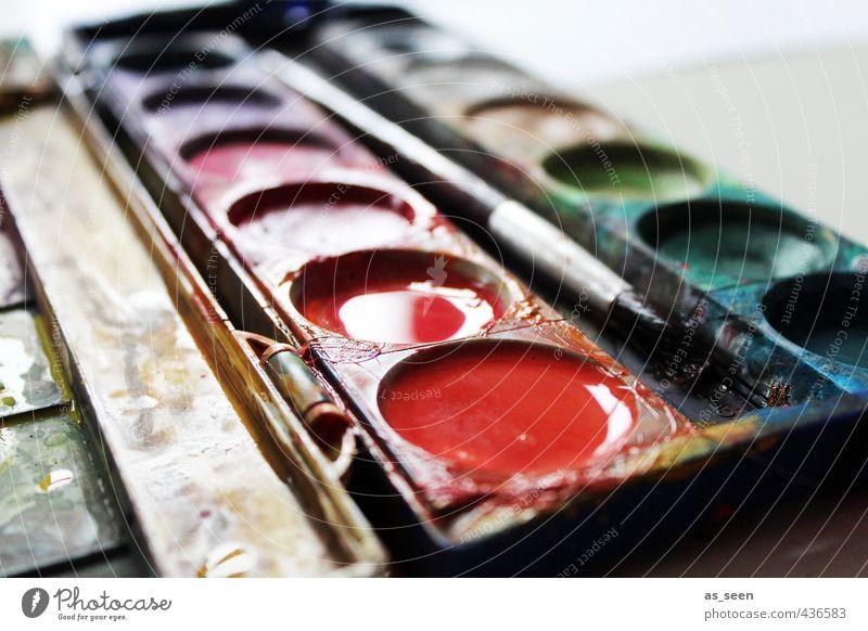 Wasserfarben Bildung Kindergarten Schulkind Kunst Maler Kultur Printmedien Kunststoff gebrauchen Flüssigkeit glänzend nass mehrfarbig orange rot ruhig