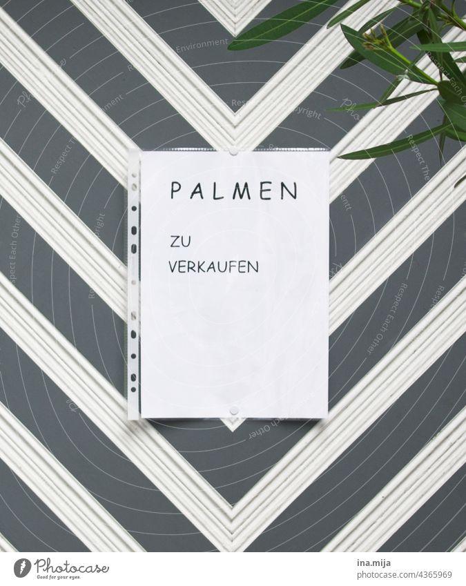 Sale: Palmen zu verkaufen Verkauf anbieten Verkaufsschild Handel Pflanzenhandel Angebot Markt Schilder & Markierungen Werbung Zettel Konsum Klarsichthülle