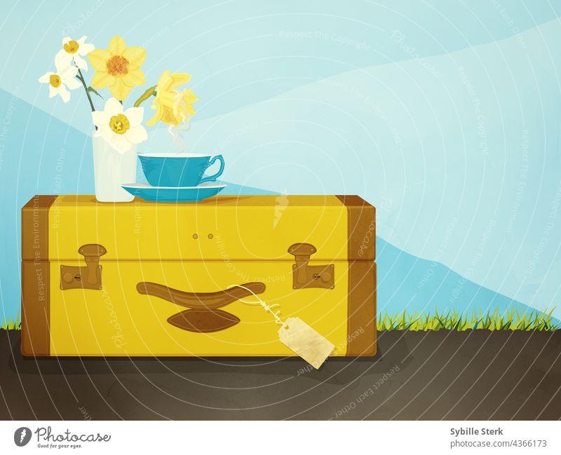 Koffer mit Tasse Tee und einer Vase mit Narzissen reisen Teetasse Tag Himmel Reisen Ausflug Wesentliche Fröhlichkeit Berge Gras Straße auf der Straße Getränk