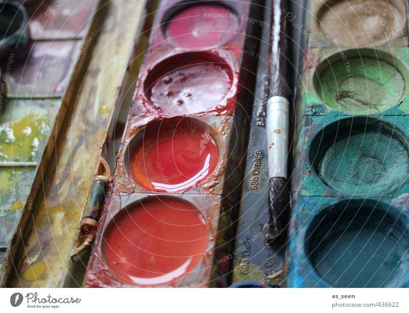 Wasserfarben II Design Bildung Kindergarten Schulkind Kunst Künstler Maler Kunstwerk Kultur Printmedien Kasten Kunststoff ästhetisch nass mehrfarbig orange rosa