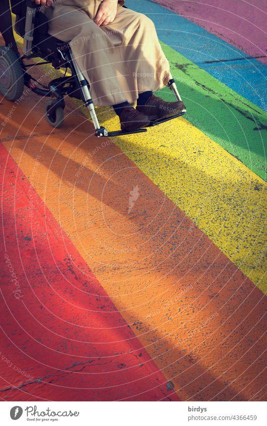 Rollstuhlfahrer auf einem regenbogenfarbenen Zebrastreifen Gesellschaft körperliche Beeinträchtigung Behinderung Mobilität Handicap Gesundheit Pflege Diversität