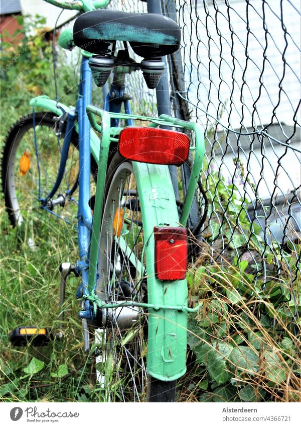Angemaltes blau grünes Fahrrad angelehnt am Drahtzaun steht auf wildem Grün Draufsicht Hinterrad Zaun Stadtrad Transport Mobilität Radfahrer alternativ