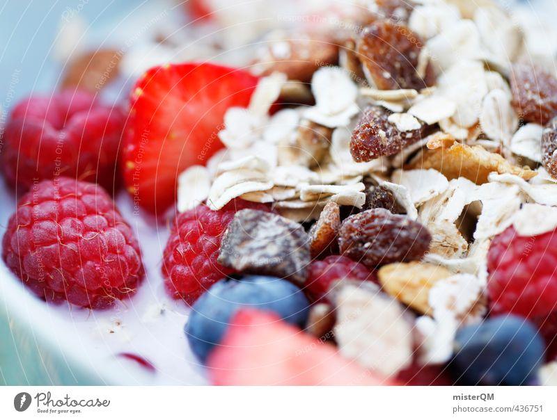 Frühstücksbunt. Gesunde Ernährung Gesundheit Kunst Zufriedenheit ästhetisch Frühstück Schalen & Schüsseln Erdbeeren Milch Blaubeeren Himbeeren vitaminreich Müsli Hafer Rosinen Mahlzeit