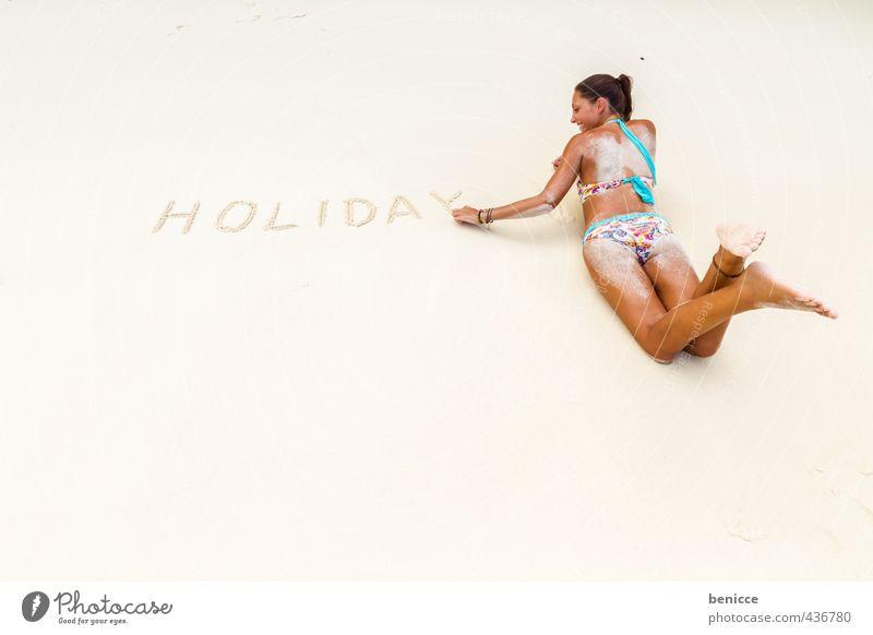 Holiday on beach Frau Mensch liegen Strand Vogelperspektive Bikini Ferien & Urlaub & Reisen Thailand Sandstrand Europäer weiß dünn Sommer Erotik Rücken