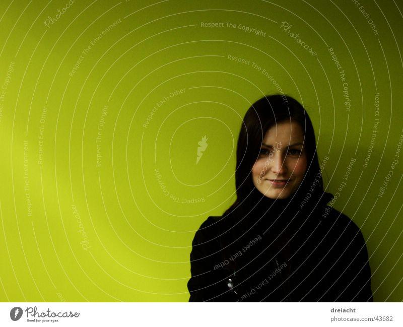 Grün mit Frau drauf Frau schön grün Gesicht schwarz feminin Wand Haare & Frisuren Mensch