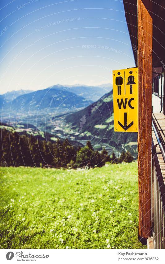 ° Himmel Natur Ferien & Urlaub & Reisen Sommer Sonne Landschaft Ferne Umwelt Berge u. Gebirge Wiese Gebäude Ordnung Tourismus wandern Hinweisschild