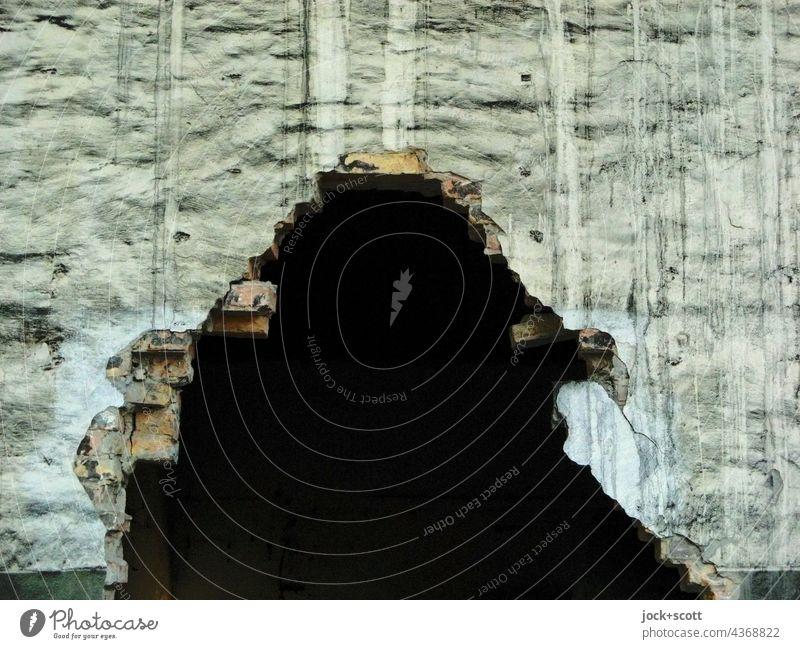 Zwischenräume | Ein großes schwarzes Loch in der Wand ist eine Öffnung  der Gelegenheit lost places kaputt verfallen Endzeitstimmung Ruine Strukturen & Formen