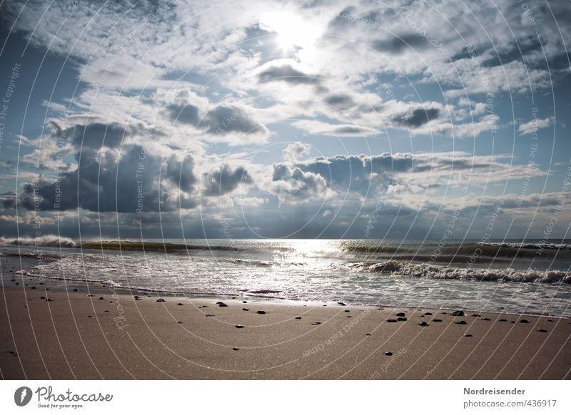 Nordisch Ferien & Urlaub & Reisen Abenteuer Ferne Freiheit Meer Wellen Urelemente Sand Wasser Himmel Sonne Klima Wetter Küste Strand Nordsee Erholung glänzend