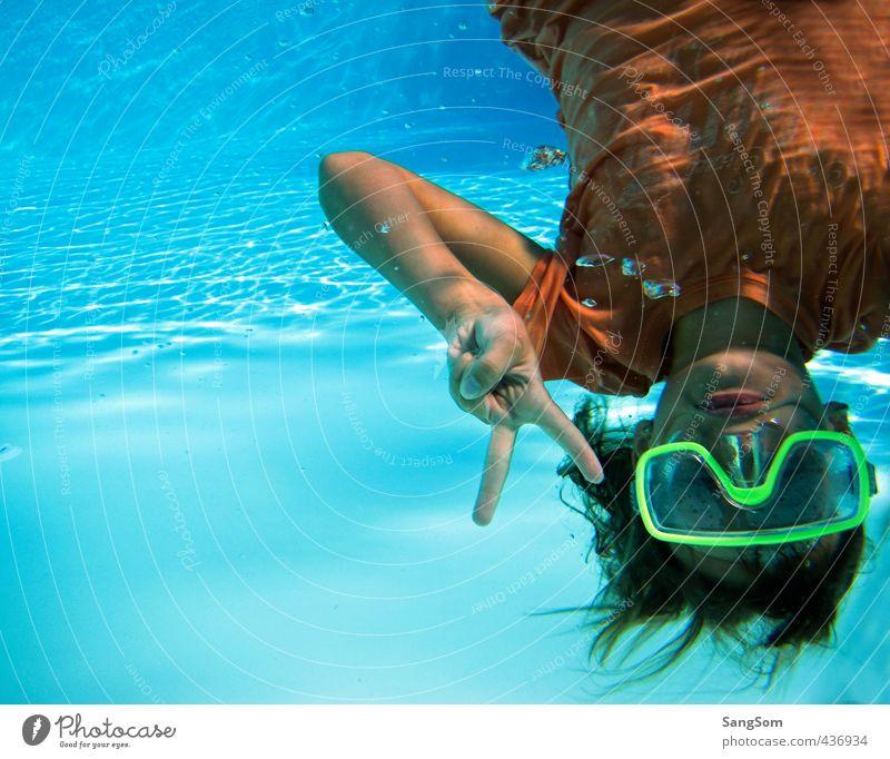 Peace Ferien & Urlaub & Reisen Sommer Schwimmen & Baden tauchen Schwimmbad Mensch feminin Mädchen 1 Wasser Schönes Wetter T-Shirt Kommunizieren Spielen nass