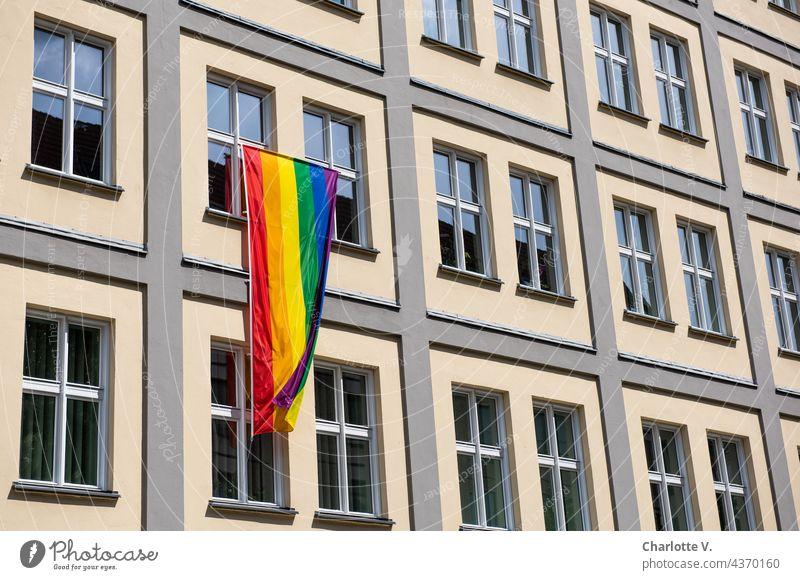 Regenbogenfahne Fassade Gebäude Fensterfront Haus Außenaufnahme Bauwerk Vielfalt Mauer Linien Farbfoto Wand Tag wehen wehend queer Homosexualität farbenfroh