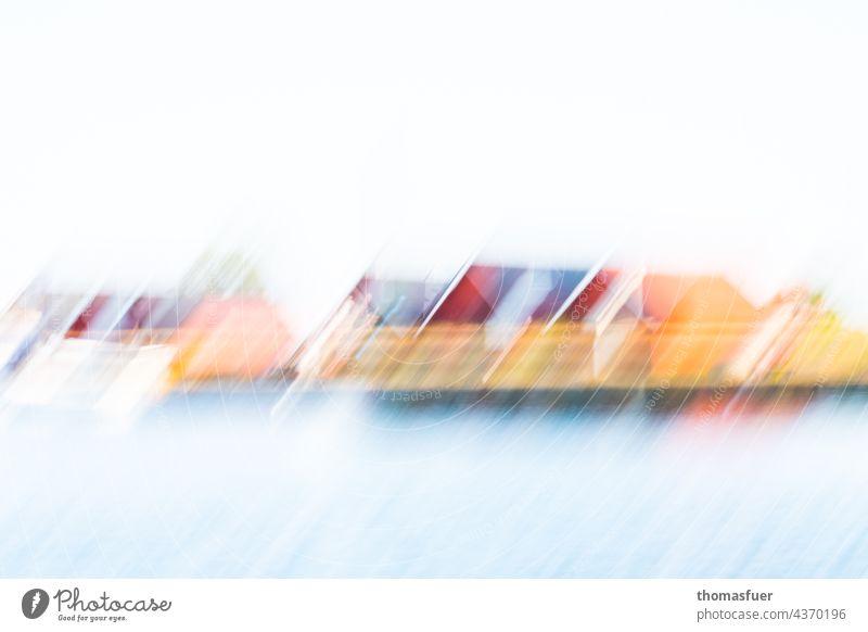 Schwedensommer Sommer Meer Häuser Fischerkaten Ferien & Urlaub & Reisen Wasser Küste Himmel Skandinavien Tag Haus Erholung abstract abstrakt