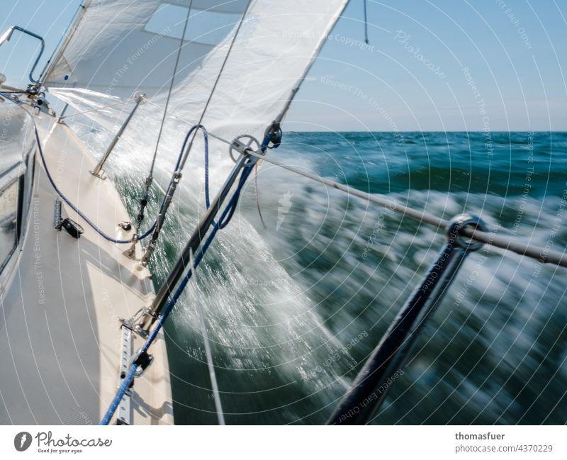 Segelboot in schneller Fahrt Wasser Segeln Wasserfahrzeug Meer Ferien & Urlaub & Reisen Außenaufnahme Sommer Abenteuer Himmel Wind Horizont Freiheit Ostsee