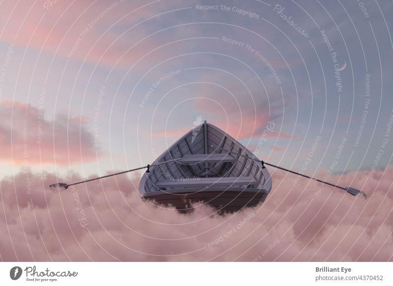 altes Holzboot über flauschigem rosa Wolkenmeer 3D-Rendering Verlassen abstrakt Schönheit Boot Windstille Cloud farbenfroh Sichelmond Kreuzfahrt Kumulus träumen