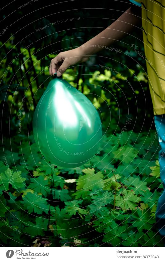 Ballon Spiele im Garten. Eine Kinderhand hält einen grünen Ballon mit der Hand, bei Tageslicht in halber Höhe. ballons Farbe Glück Freude Fröhlichkeit