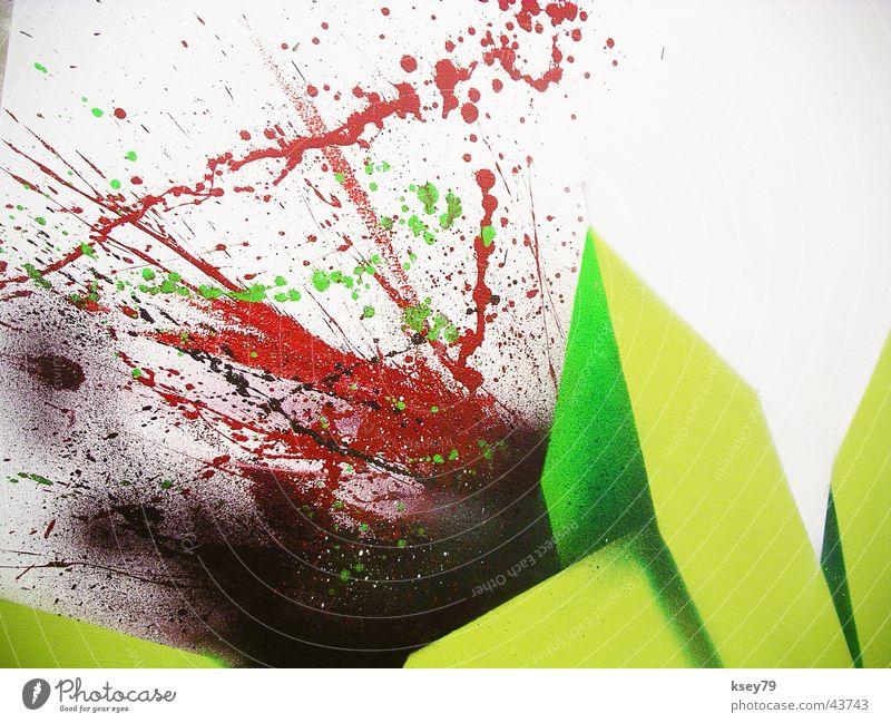Ein Stück Müsli sprühen grün Ausstellung Messe Grffitti Grafitti Graffiti Projektionsleinwand Splasch