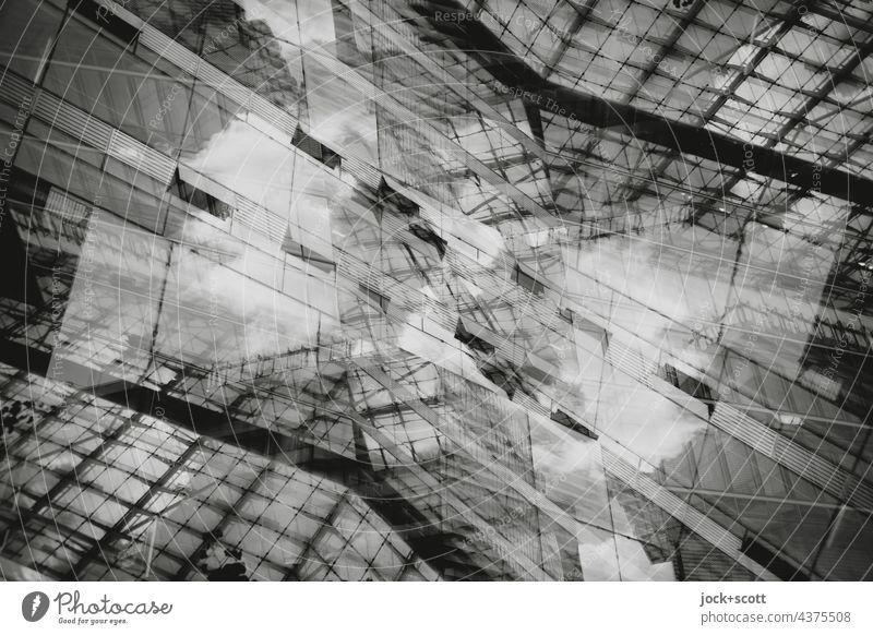 Abstrakte Architektur IIl Linie streben Glasfassade Moderne Architektur Gebäude Strukturen & Formen Doppelbelichtung Reaktionen u. Effekte Design Silhouette