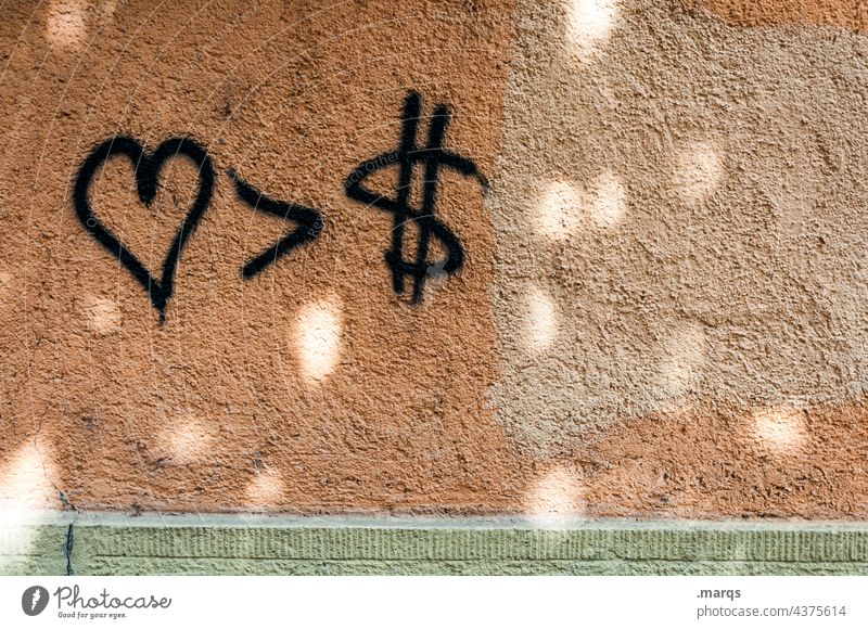 <3 > $ Liebe Menschlichkeit profit Geld Gier Geldgier zuversicht Hoffnung Reichtum Politik & Staat Symbole & Metaphern Priorität Wand Lichterscheinung Zeichen