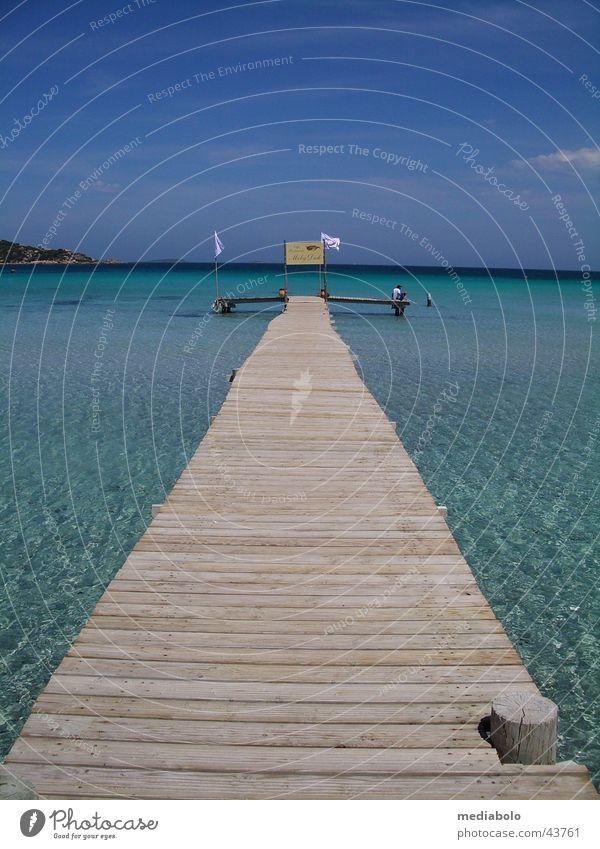 Bridge into Blue Korsika Strand türkis Physik Steg Frankreich Europa Giulia blau Mittelmeer Bucht Wärme Corse