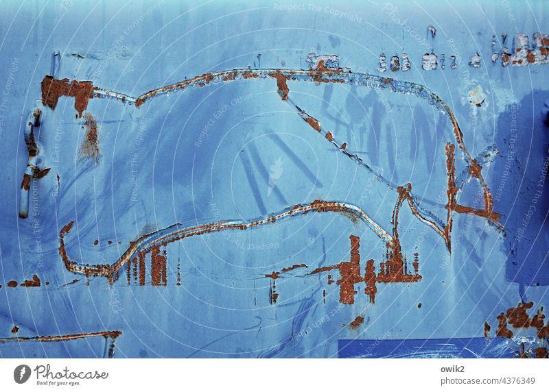 Lascaux Kratzspuren Tier Nutztier klobig e3infach Zufallsprodukt Strichzeichnung Höhlenmalerei Metall Container Blech MetallRost Spuren zerkratzt blau türkis