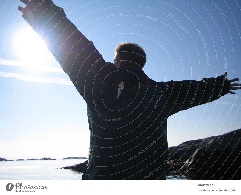 Freiheit Mann Himmel Meer Ferien & Urlaub & Reisen Ferne Freiheit Horizont Unendlichkeit