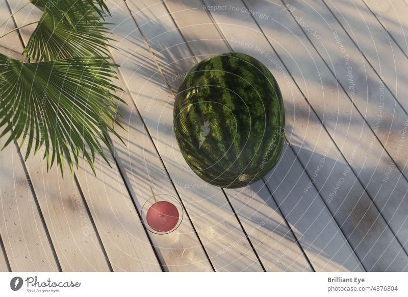 Wassermelone auf weißen Brettern im Abendsonnenlicht Dekoration & Verzierung Konzept oben Früchte hölzern Sommerzeit Garten Holz roh Natur tropisch Melonen