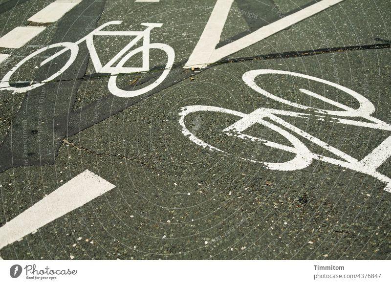 Neulich in Nürnberg...Fahrradwege Verkehrswege Straßenverkehr Fahrradfahren Piktogramm Fahrbahnmarkierung Richtung Zeichen Wege & Pfade Asphalt Farbe weiß grau