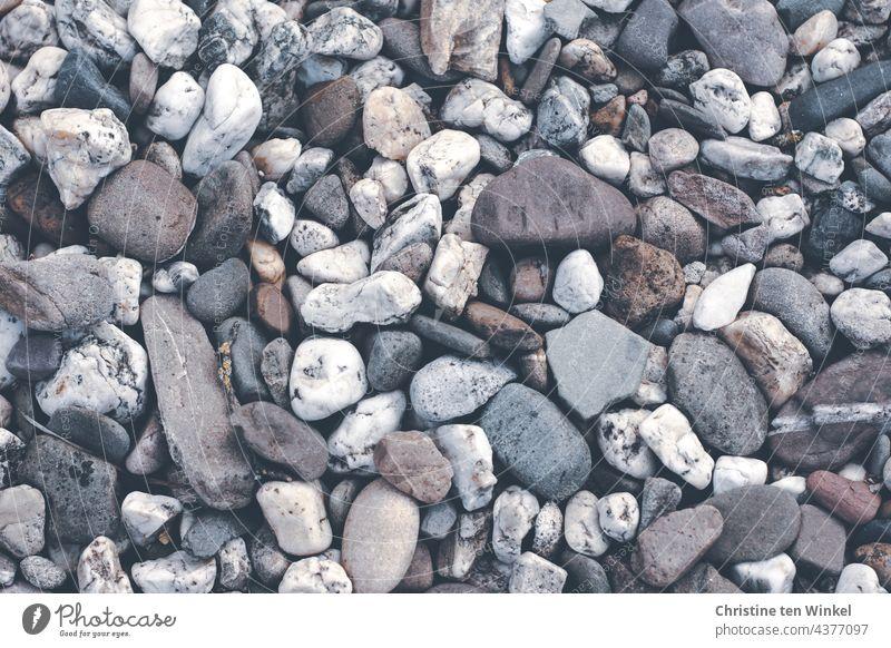700 / Viele schöne Kieselsteine in unterschiedlichen Farben, Größen und Formen Strukturen & Formen grau hell Stein Steinbeet Vorgarten Vogelperspektive
