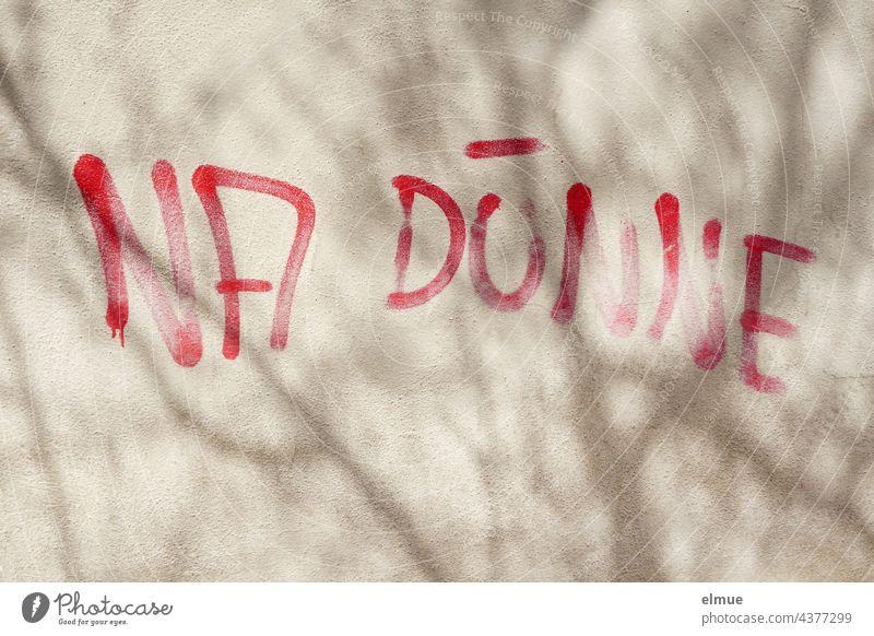 NA DÜNNE steht in roten Großbuchstaben an einer grauen Wand mit Baumschatten / Graffito / Mobbing Dünne na dünne Graffiti Schrift Schatten Typographie