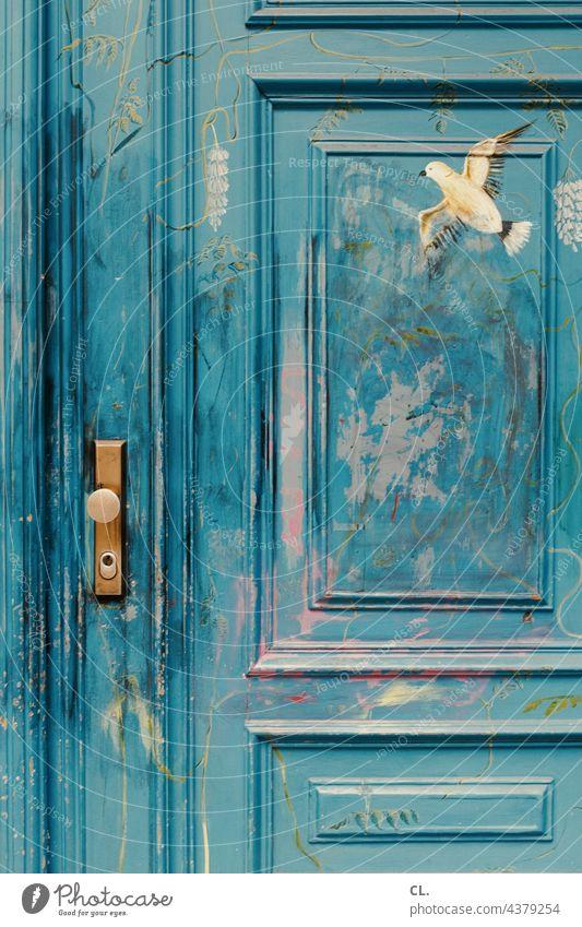 bemalte holztür Tür blau Holz Vogel Frieden Holztür Friedenstaube geschlossen Türgriff Griff Kreativität Taube Farbe Malerei Schloss Freiheit