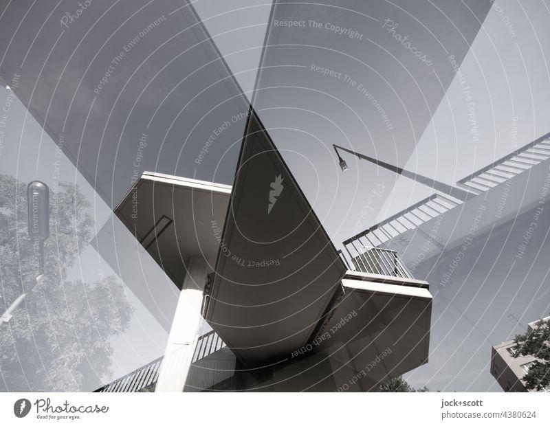 Doppelbrücke Brücke Treppenhaus Beton eckig Surrealismus modern Irritation Doppelbelichtung abstrakt Strukturen & Formen Froschperspektive Architektur