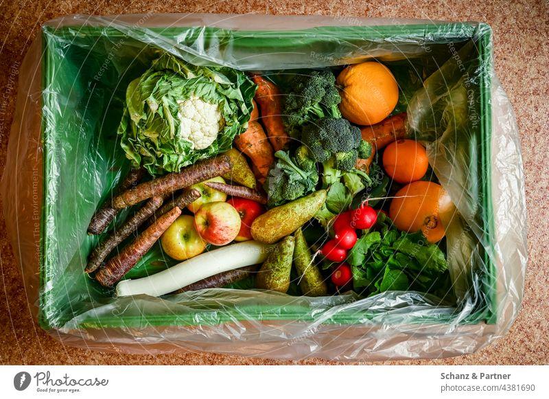 Biokiste mit Salat, Obst und Gemüse Vegetarisch vegan Ernährung Biolandwirtschaft vegetarisch frisch Lebensmittel gesund Bioprodukte Ernte Birnen Karo