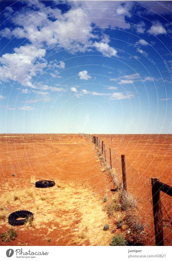 dogfence Zaun Australien Wüste Himmel Perspektive Nirgendwo Hundezaun Sand