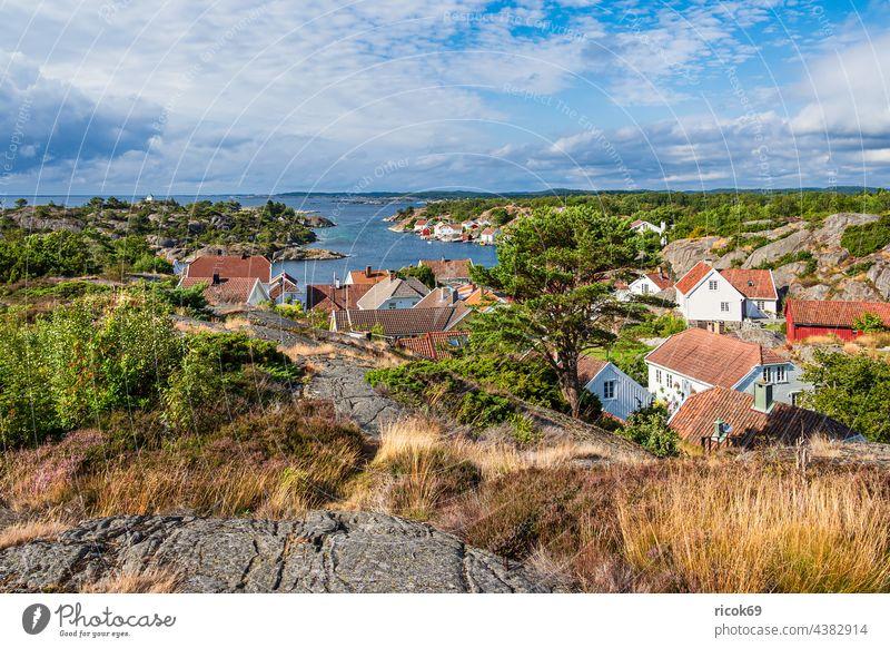 Blick auf das Dorf Brekkestø in Norwegen Brekkesto Meer Küste Nordsee Skagerrak Insel Justøya Justoya Schären Schärengarten Schäreninsel Hügel Aussicht Felsen