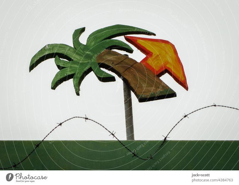 wo die Palmen sind gehts da lang Kreativität Wegweiser Orientierung Schilder & Markierungen Stil Comic Richtung Fernweh Pfeil Straßenkunst