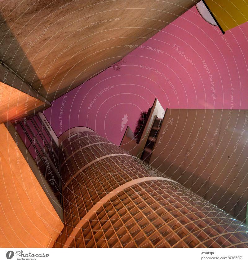 Starship Haus Architektur Gebäude Stil orange Fassade Lifestyle Design hoch modern Perspektive Zukunft violett Bauwerk Futurismus eckig