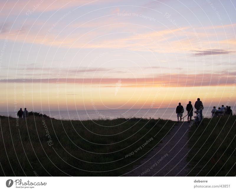 Der Sonnenuntergang Natur Wasser Himmel Meer Ferien & Urlaub & Reisen ruhig Wolken Wege & Pfade Publikum Stranddüne Dänemark