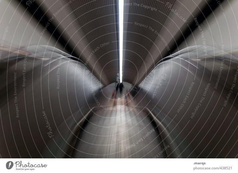 Abwärts elegant Stil Design U-Bahn Rolltreppe Linie dunkel trendy modern Geschwindigkeit Stadt Fortschritt Mittelpunkt Perspektive Surrealismus Symmetrie